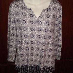 Kim Rogers Top Shirt 3/4 Sleeve Large Navy White